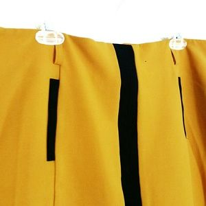 Worthington Mustard Yellow Skirt with Black Stripe